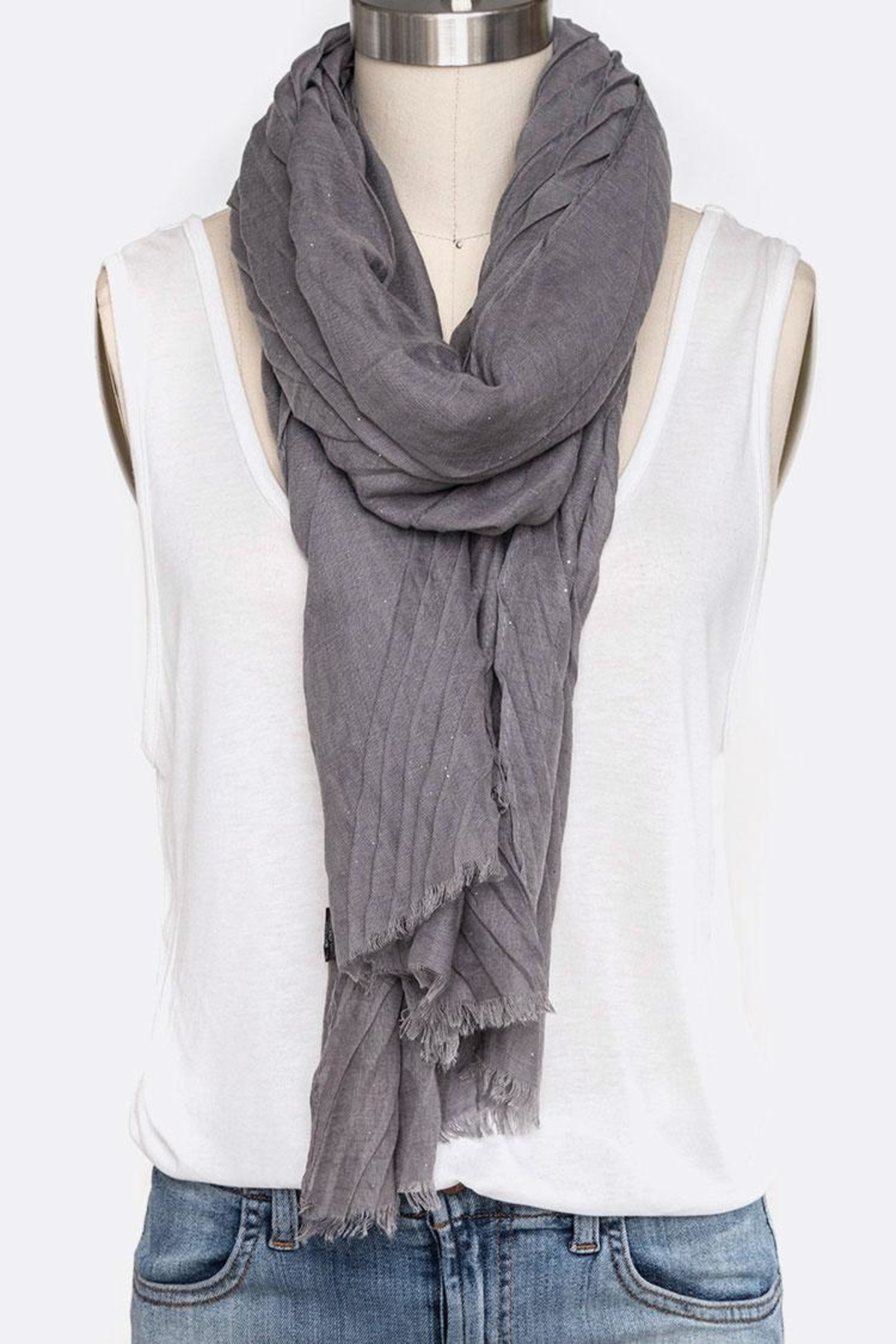 Nadya's Closet Solid Color Crinkle-Scarf - Main Image