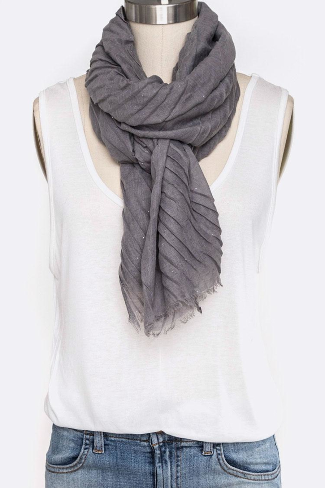 Nadya's Closet Solid Color Crinkle-Scarf - Front Full Image