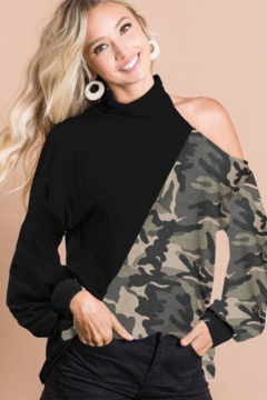 Shoptiques Product: Solid Colored and Camo Print Top