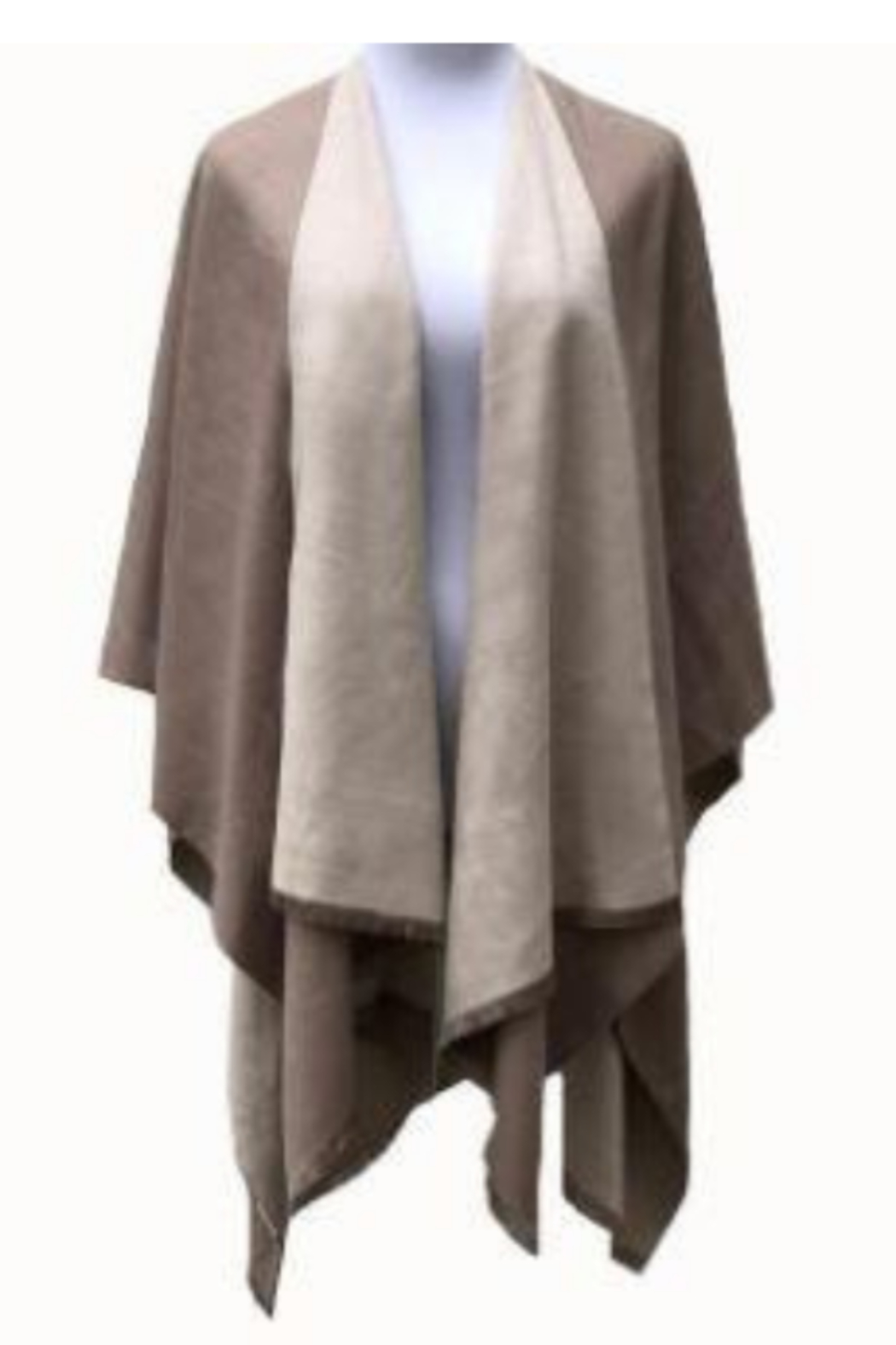 DiJore Solid Colors Cashmere Reversible Ruana Shawl Wrap - Front Cropped Image