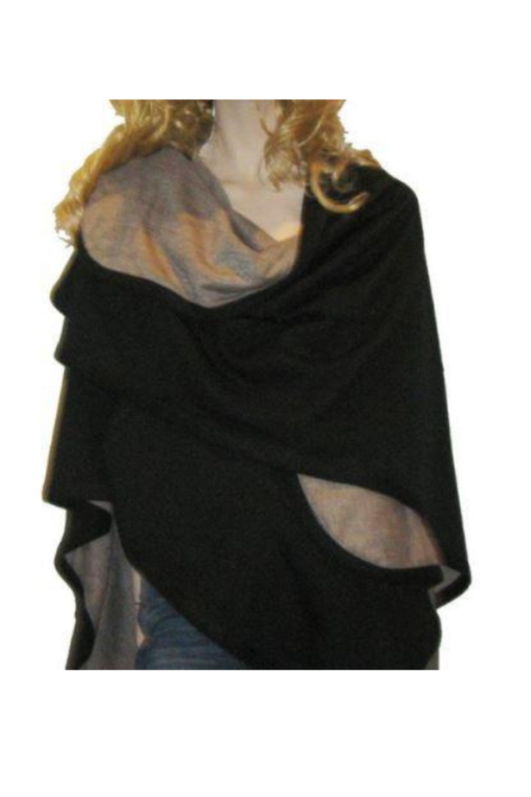 DiJore Solid Colors Cashmere Reversible Ruana Shawl Wrap - Main Image