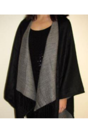 DiJore Solid Colors Cashmere Reversible Ruana Shawl Wrap - Front cropped