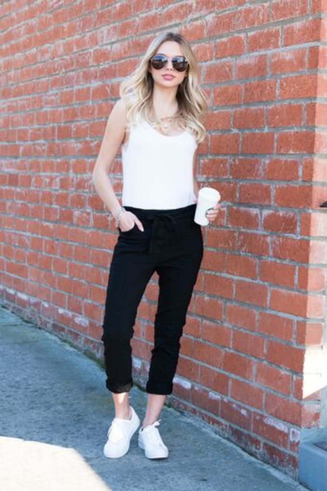Venti6 Solid Crinkle Jogger - Front Full Image
