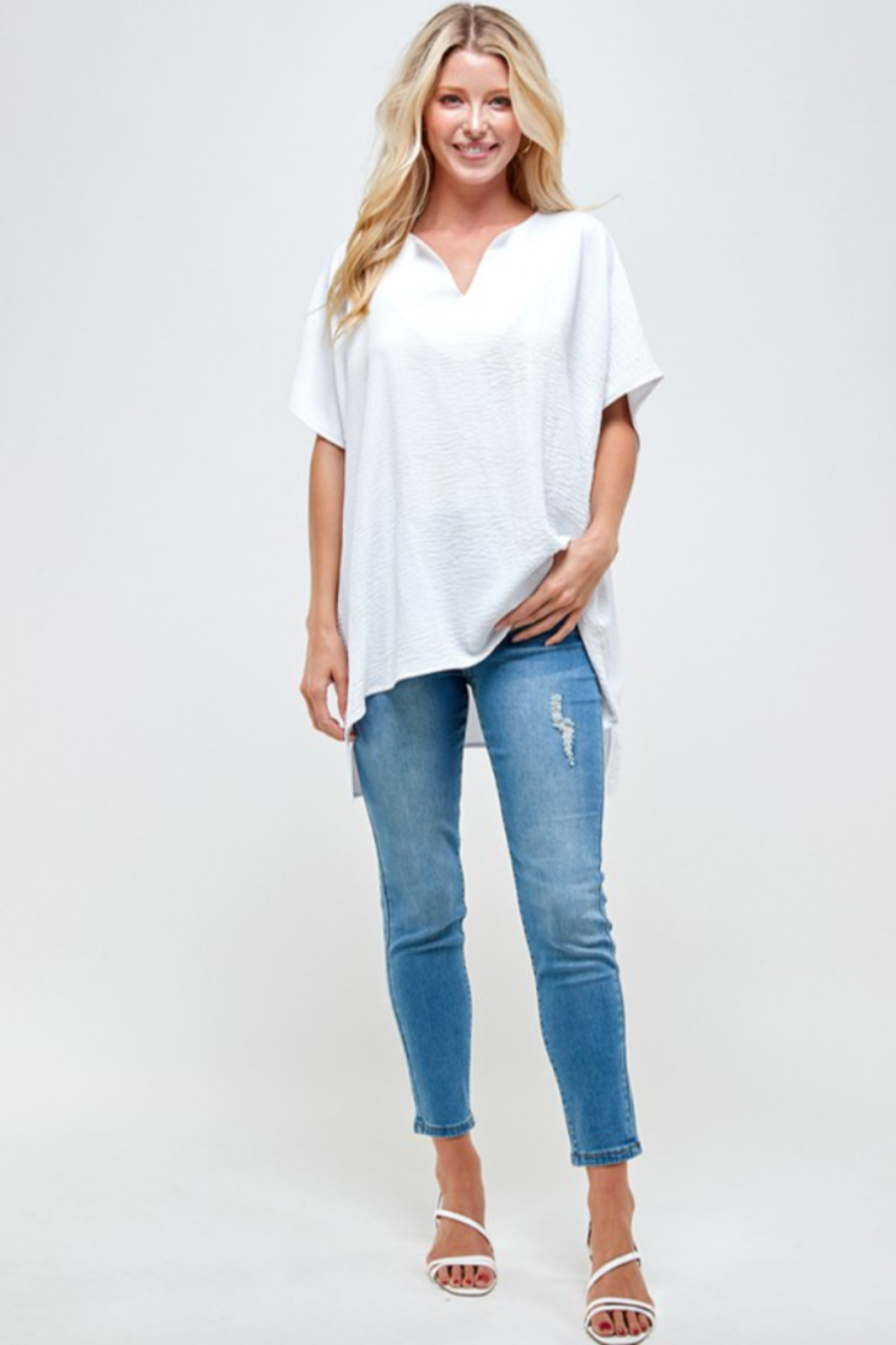 Caramela Solid Crinkle Tunic Top - Front Full Image