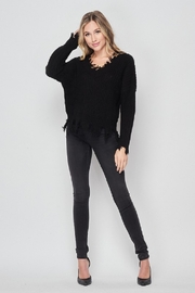 2NE1 Apparel Solid Distressed V-Neck Sweater - Front full body