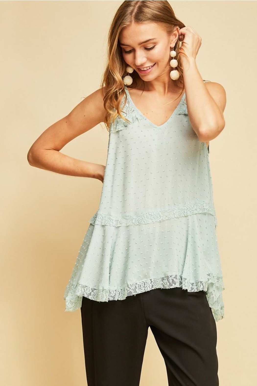 Entro Solid Dotted V-Neck - Main Image