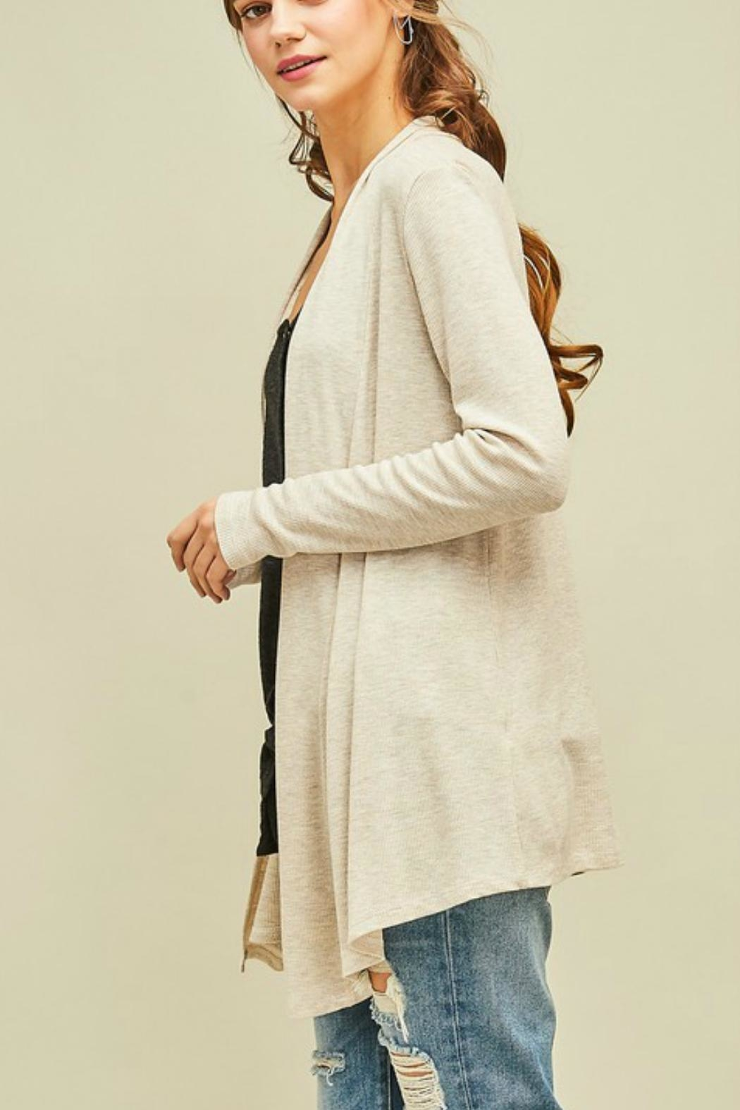Entro Solid Draped Cardigan - Side Cropped Image