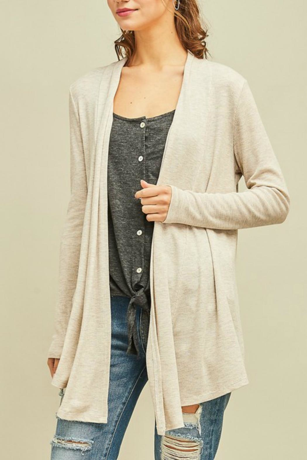Entro Solid Draped Cardigan - Front Full Image