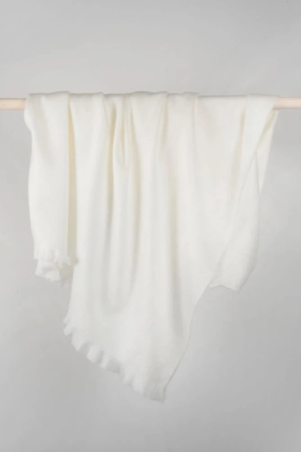 Pokoloko Solid Fringed Alpaca Throw - Front Cropped Image