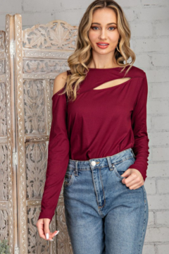 143 Story Solid Knit Top with Cutouts - Product List Image
