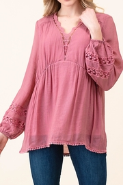 L Love Solid Lace Top - Product Mini Image