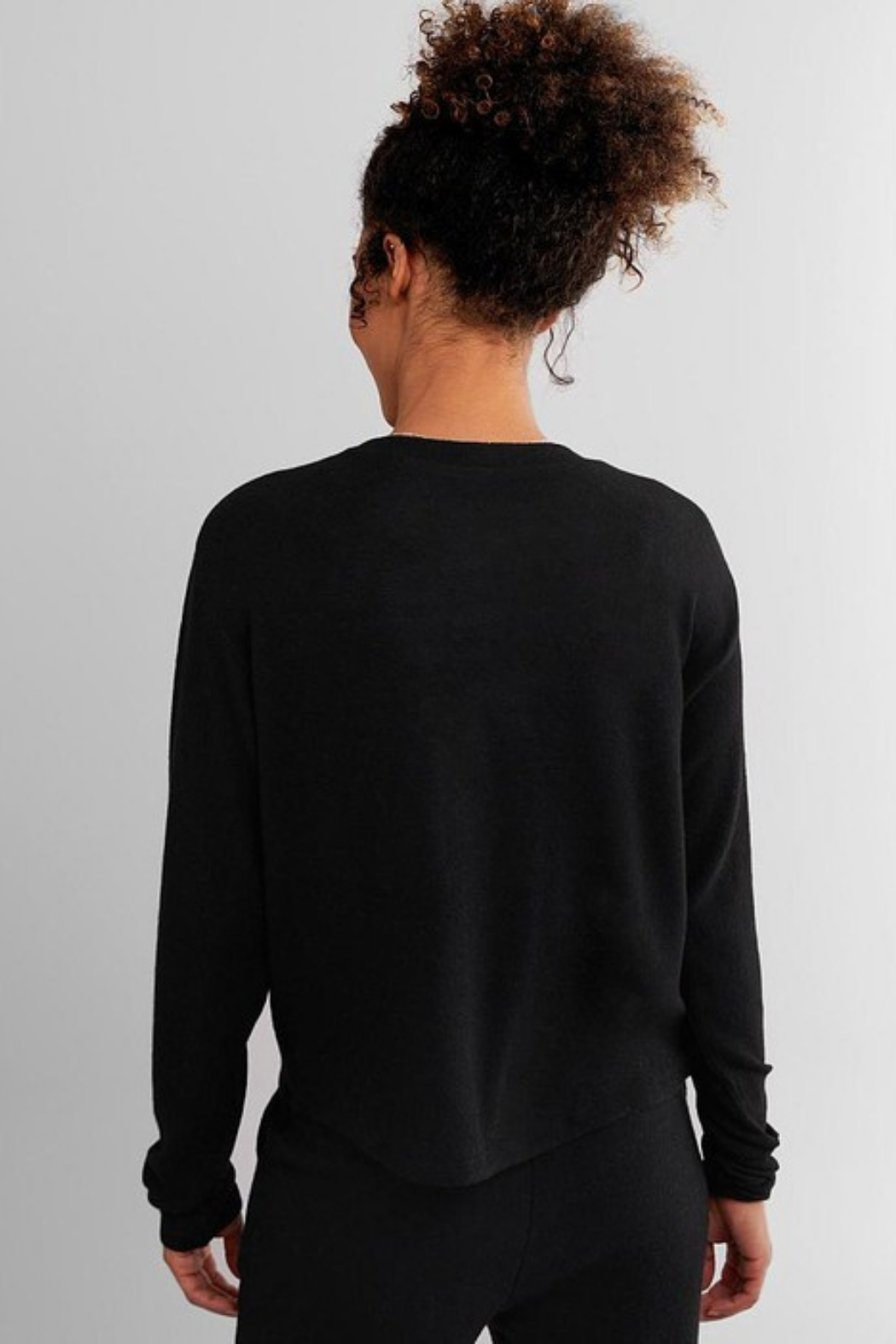 Fornia Solid Black LS & Jogger Lounge Set - Back Cropped Image