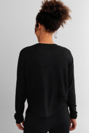 Fornia Solid Black LS & Jogger Lounge Set - Back cropped