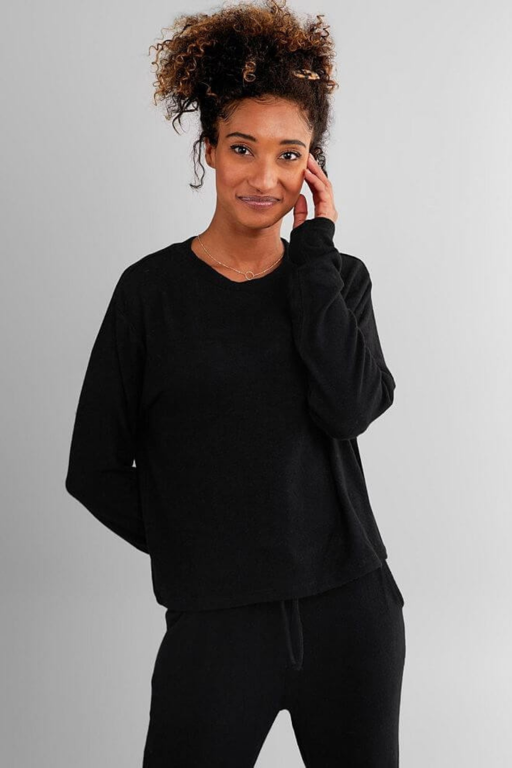 Fornia Solid Black LS & Jogger Lounge Set - Front Full Image