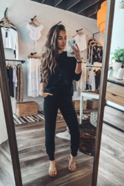 Fornia Solid Black LS & Jogger Lounge Set - Front cropped