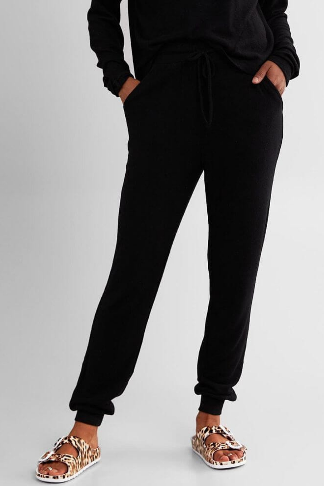Fornia Solid Black LS & Jogger Lounge Set - Side Cropped Image