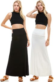 Azules Solid Maxi Skirt with foldover waist - Product Mini Image