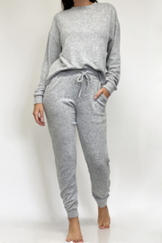 Fornia Solid Melange Grey LS & Jogger Lounge Set - Front full body