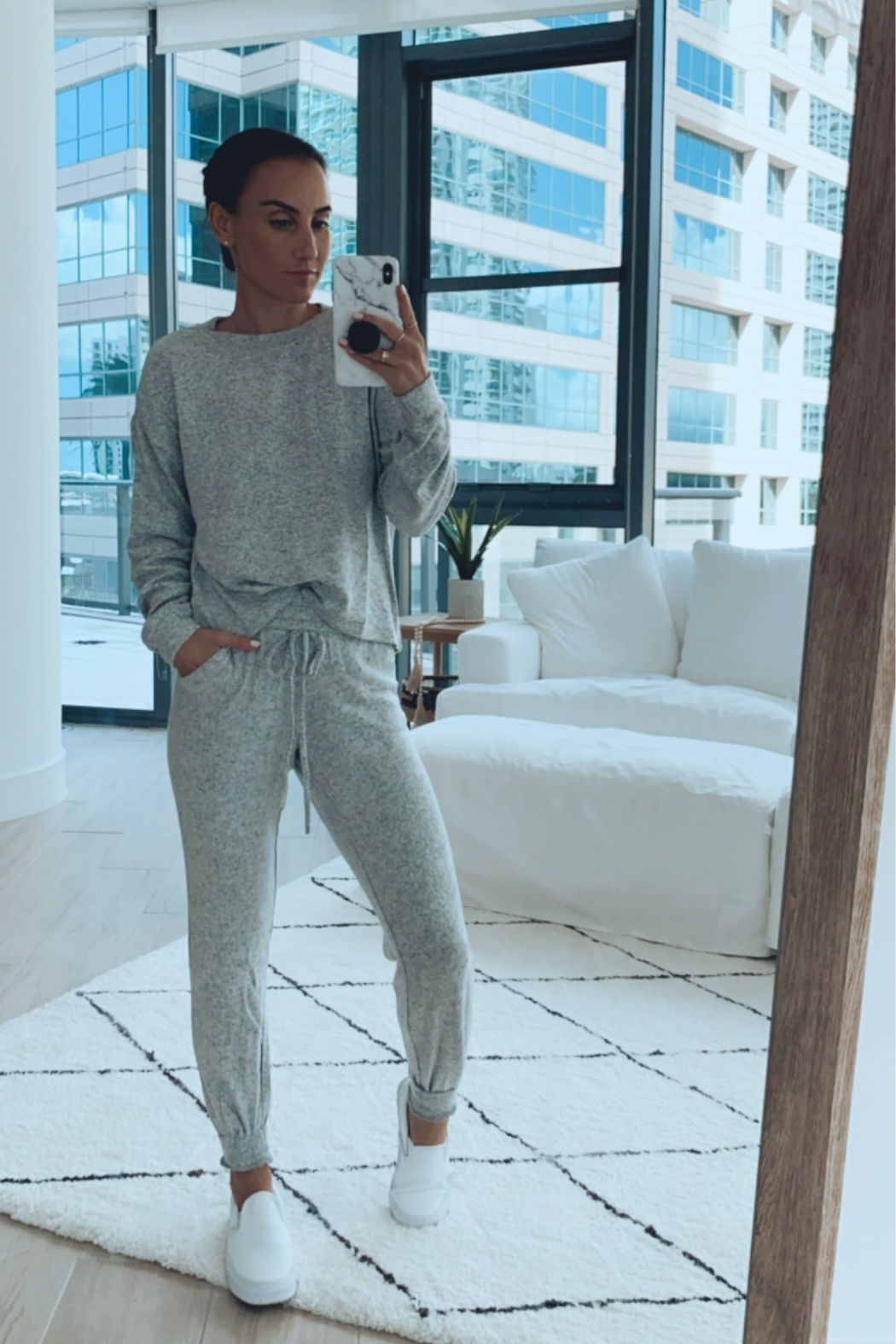 Fornia Solid Melange Grey LS & Jogger Lounge Set - Front Cropped Image