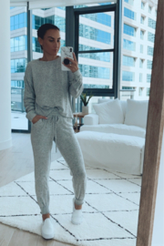 Fornia Solid Melange Grey LS & Jogger Lounge Set - Front cropped