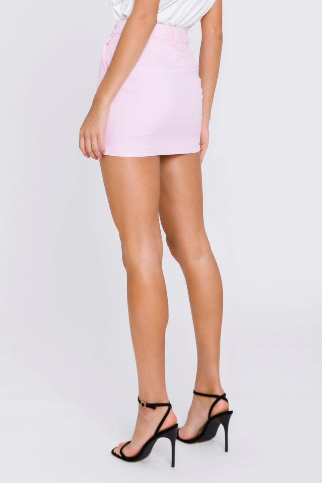 Grey Lab Solid Mini Skirt - Back Cropped Image