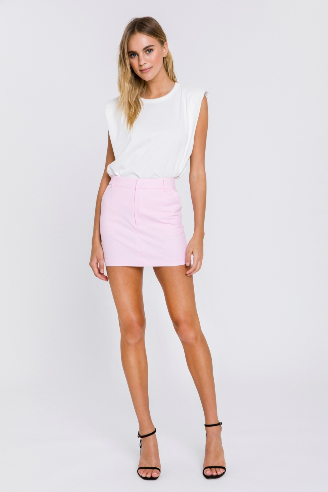 Grey Lab Solid Mini Skirt - Front Full Image