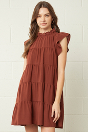 entro  Solid Mock Neck Ruffle Sleeve Tiered Dress - Front cropped