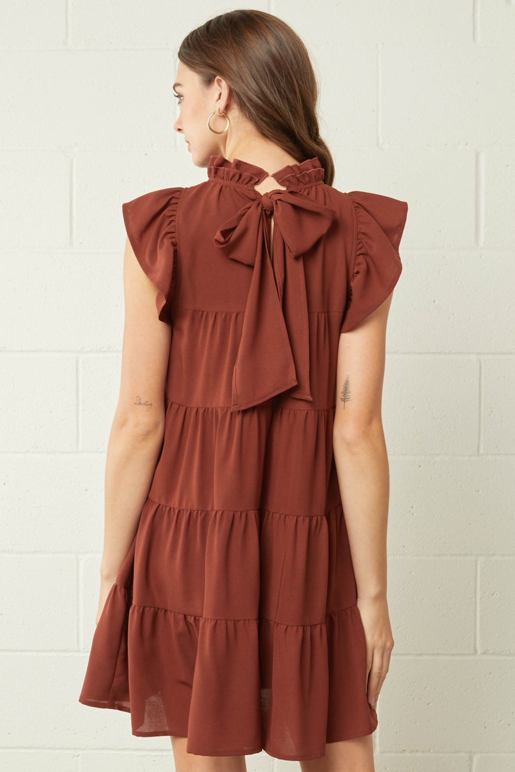 entro  Solid Mock Neck Ruffle Sleeve Tiered Dress - Side Cropped Image