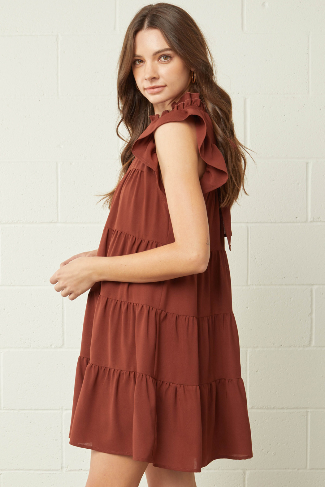 entro  Solid Mock Neck Ruffle Sleeve Tiered Dress - Front Full Image