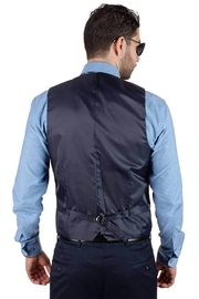 AZM Solid Navy 5 Button Slim Fit Vest - Front full body