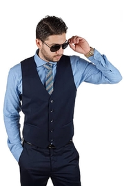 AZM Solid Navy 5 Button Slim Fit Vest - Front cropped