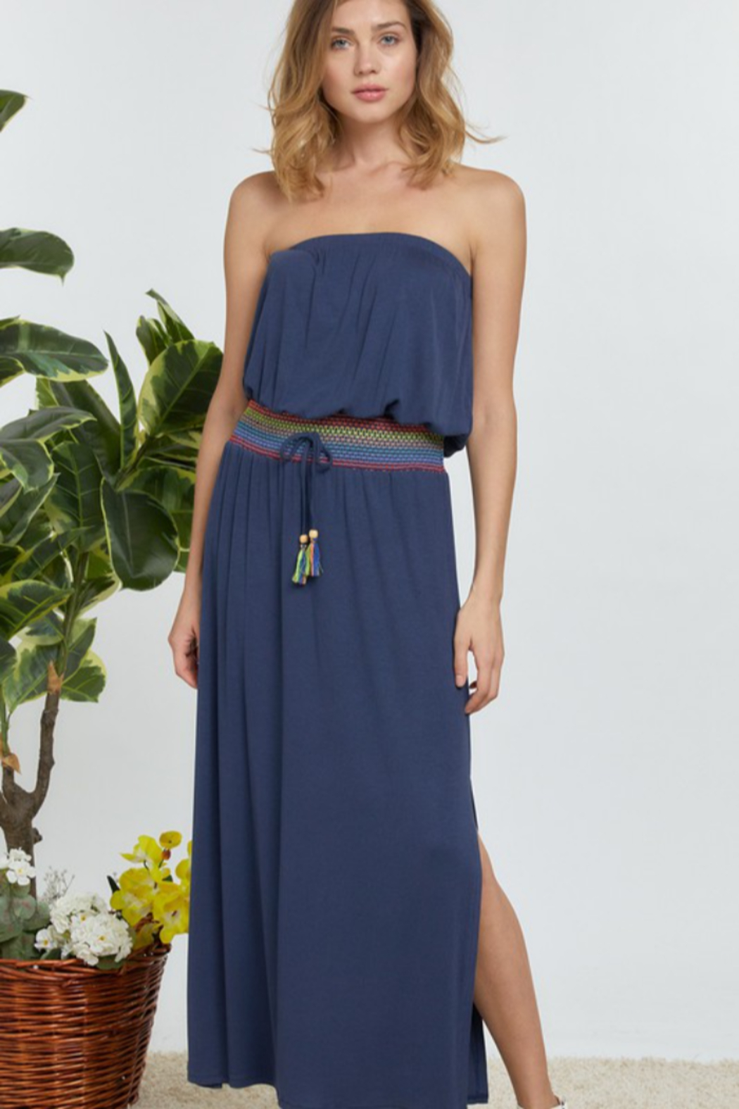 DAVI AND DANI Solid Off Shoulder Maxi Dress - Main Image
