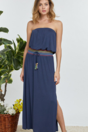 DAVI AND DANI Solid Off Shoulder Maxi Dress - Front cropped