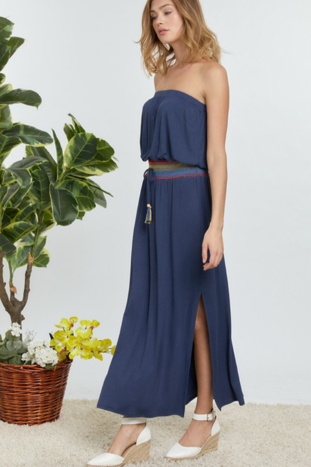 DAVI AND DANI Solid Off Shoulder Maxi Dress - Front Full Image