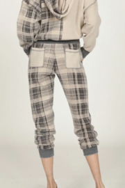Vintage Havana  Solid Plaid Joggers - Front full body