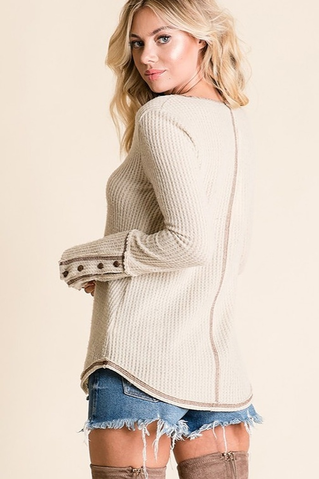 Ces Femme Solid ribbed reverse stitch detail top - Front Full Image