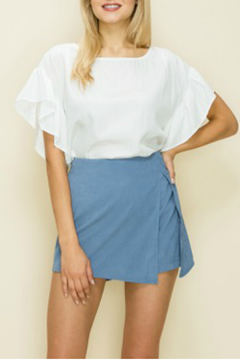 Shoptiques Product: Solid ruffle sleeve box top