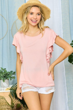 Adora Solid Ruffle Sleeve Top - Product List Image