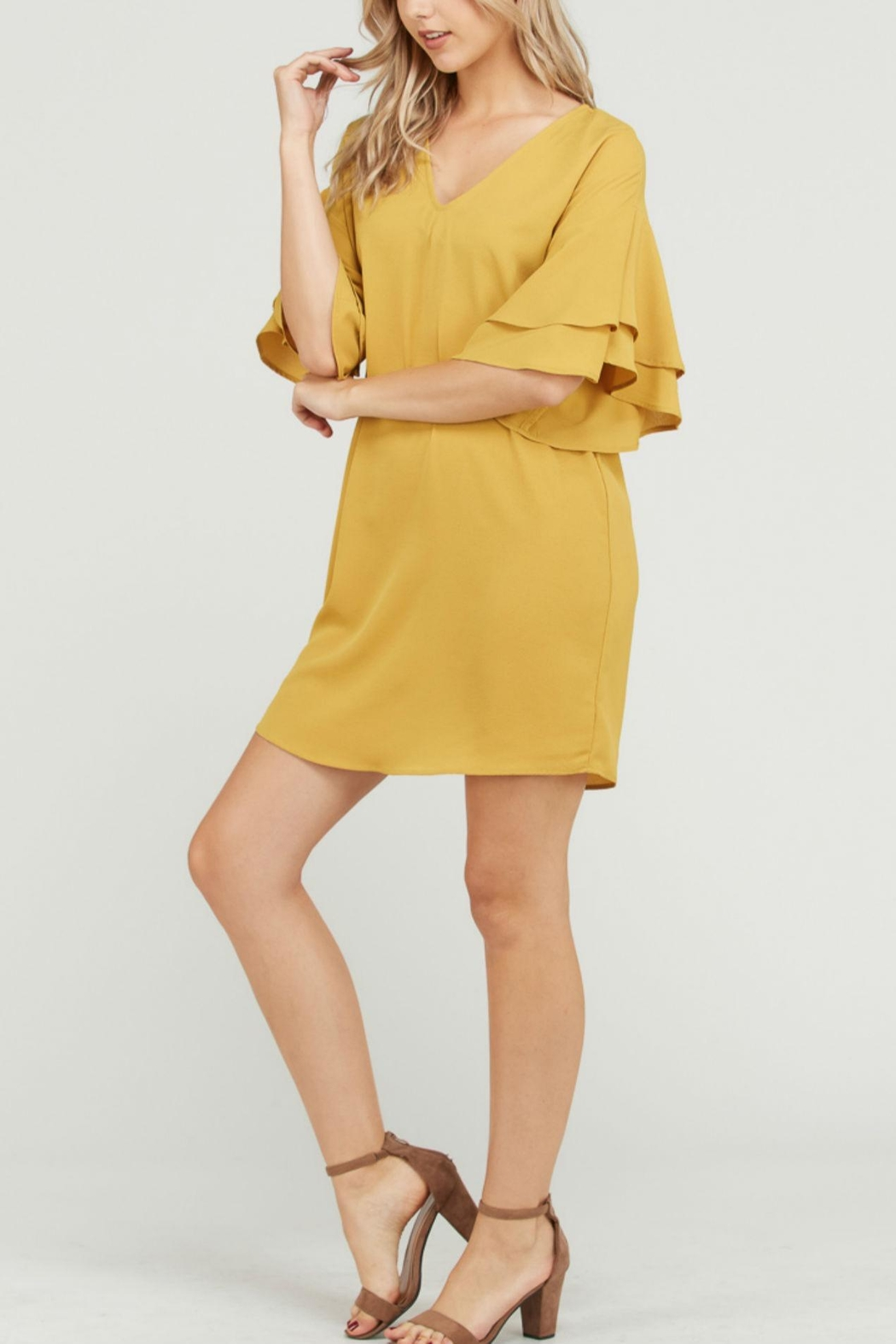 Rosette Solid Ruffle Sleevedress - Side Cropped Image