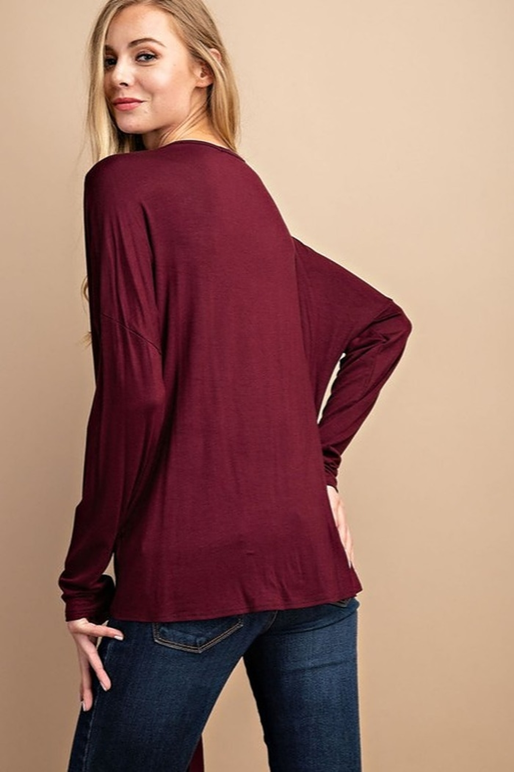 FSL Apparel Solid Tie Front Top - Front Full Image