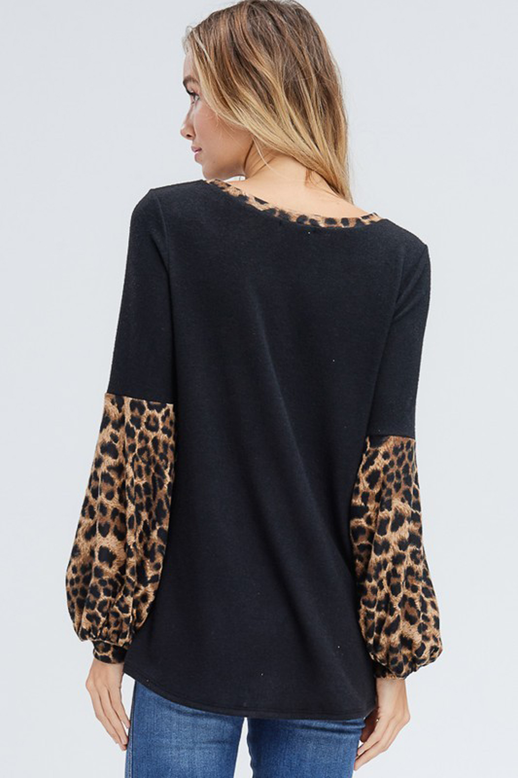 White Birch  Solid Top with Leopard Contrast Collar and Sleeves - Back Cropped Image