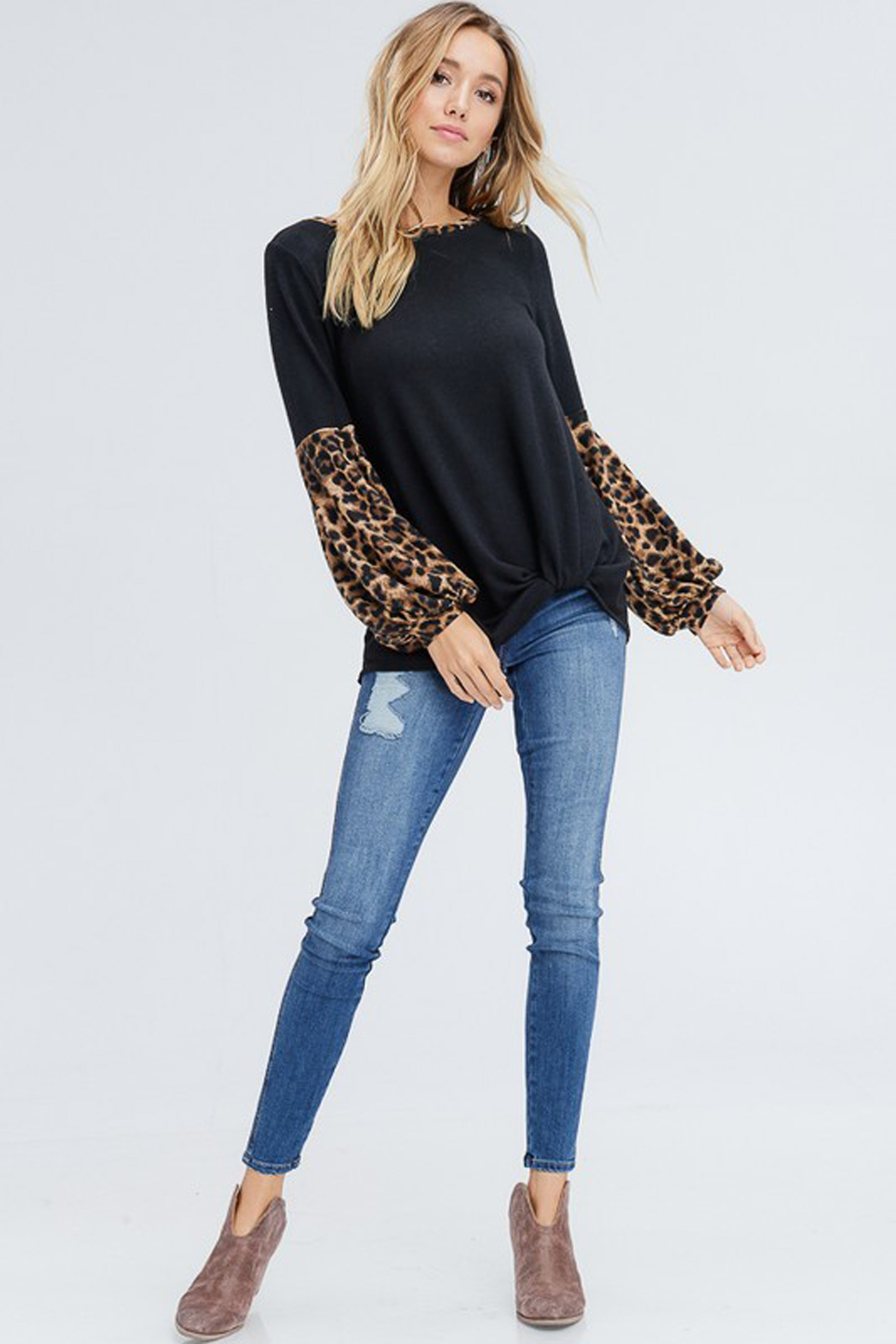 White Birch  Solid Top with Leopard Contrast Collar and Sleeves - Side Cropped Image