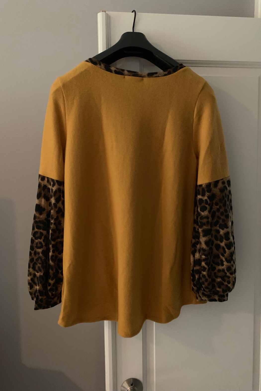 White Birch  Solid Top with Leopard Contrast Collar and Sleeves - Front Full Image