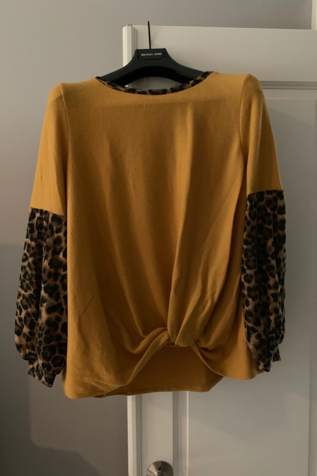White Birch  Solid Top with Leopard Contrast Collar and Sleeves - Main Image