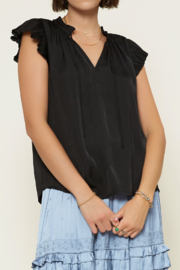 Current Air  Solid V-Neck Pleated Cap Sleeve Blouse - Product Mini Image