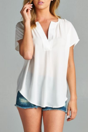 Caramela Solid V Neck Top - Product Mini Image