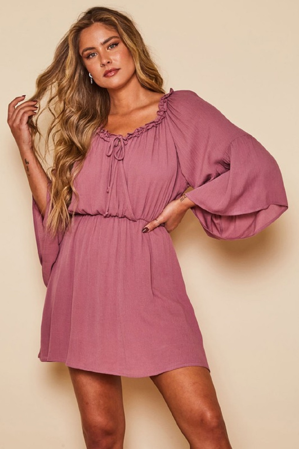Peach Love California Solid Wrap Dress - Front Full Image