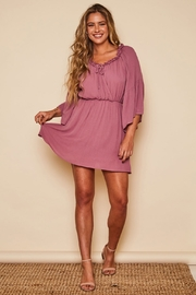 Peach Love California Solid Wrap Dress - Front cropped