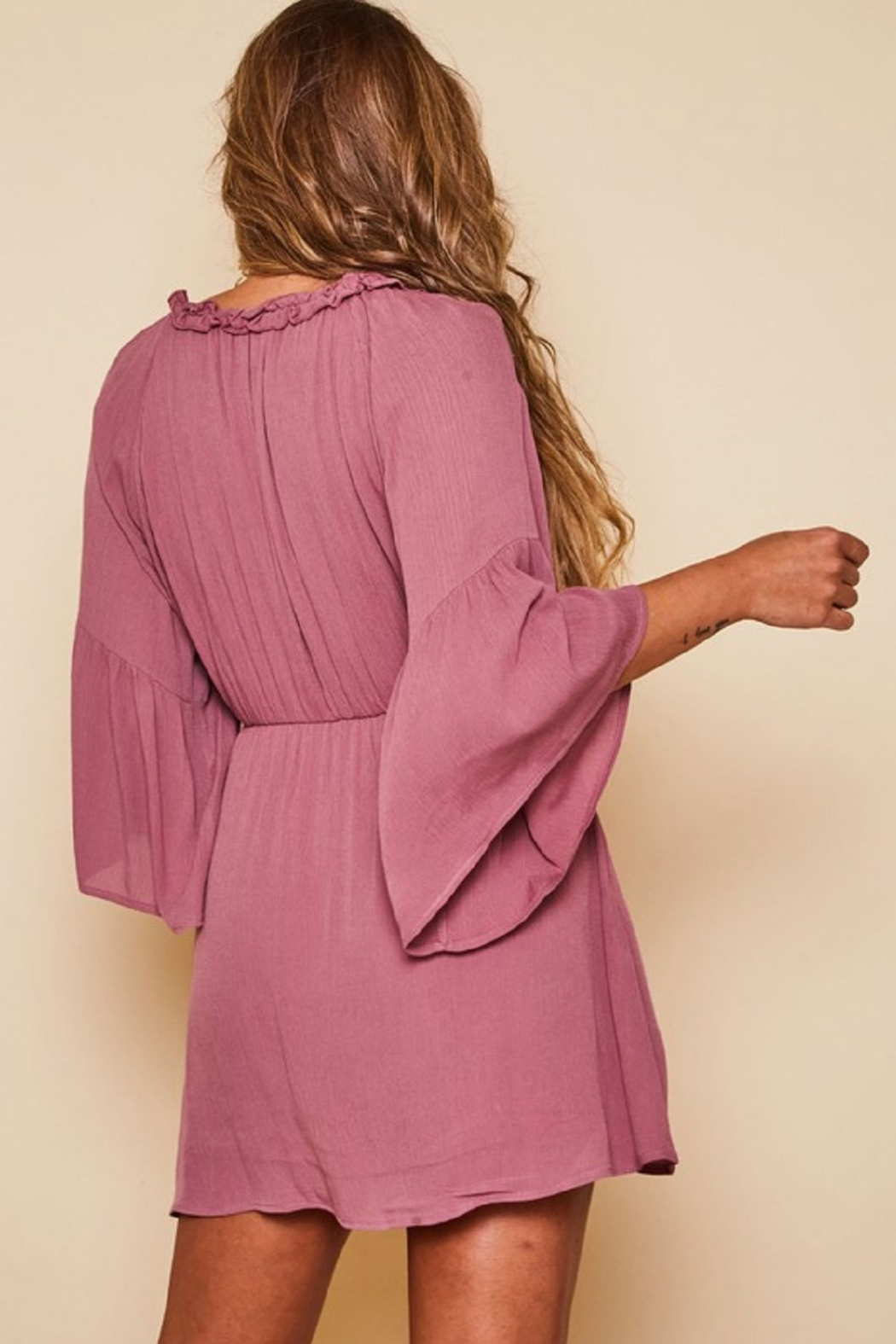 Peach Love California Solid Wrap Dress - Side Cropped Image