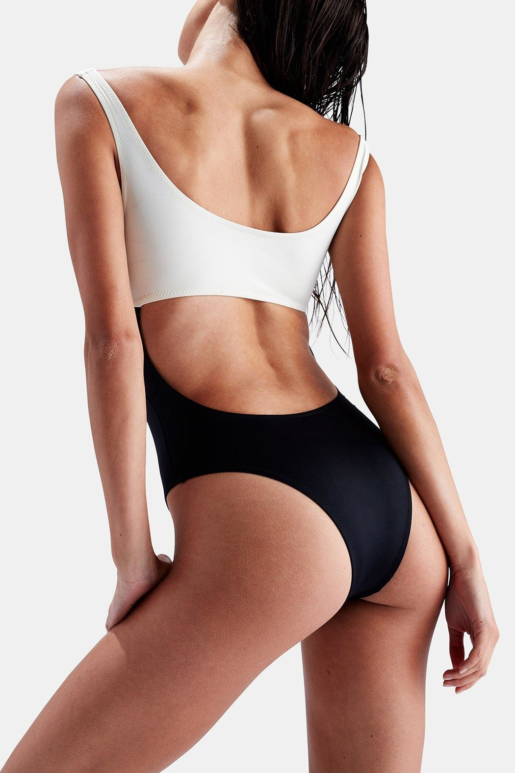 Solid & Striped Two-Toned One Piece - Side Cropped Image